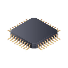 Microchip isolated on white background. Isometric vector illustration