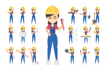 Construction worker set.