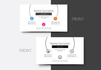 Multicolored Icon Business Card Layout