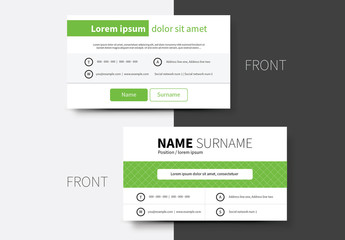 Green Tab Business Card Layout