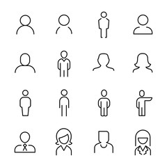 Set of 16 user thin line icons.