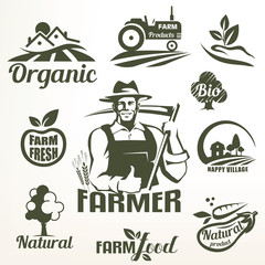 organic, bio or farm food emblems collection, stylized symbols set of natural products