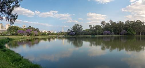 Panoramic view of Ibirapuera Park Lake and Sao Paulo Obelisk - Sao Paulo, Brazil