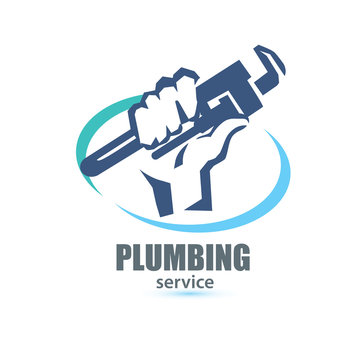 hand holding a wrench, plumbing service logo template
