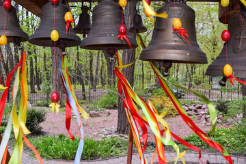 Bells decorated for Easter.