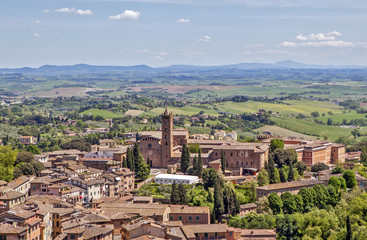 Siena, Italy. Historical center and picturesque surroundings of the city