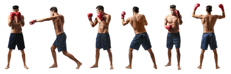 Set of young man with boxing gloves training on white background