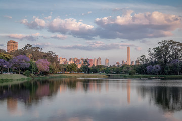 Sunset at Ibirapuera Park Lake and Sao Paulo Obelisk - Sao Paulo, Brazil