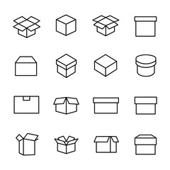 Set of 16 box thin line icons.