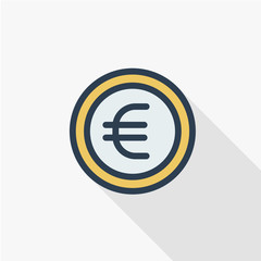 euro coin, currency thin line flat color icon. Linear vector illustration. Pictogram isolated on white background. Colorful long shadow design.