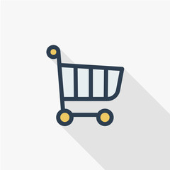 Shopping Cart thin line flat color icon. Linear vector illustration. Pictogram isolated on white background. Colorful long shadow design.