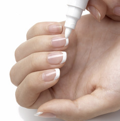 doing french manicure with white nail polish marker