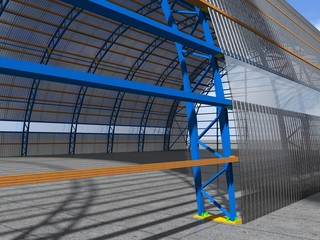 3D rendering. The construction of the arched hangar of metal structures.