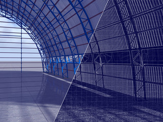 3D rendering and blueprint. The construction of a hangar of arch type, crane.
