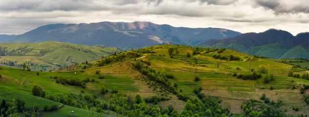 mountainous rural area in springtime
