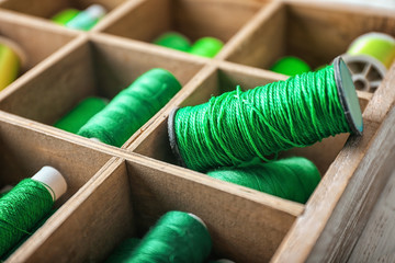 Set of green sewing threads in wooden compartment box