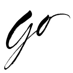 Handwritten word Go in expressive brush lettering style