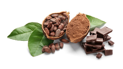 Composition with healthy cocoa products on white background