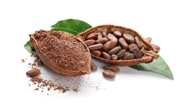 Halves of ripe cocoa pod with beans and powder on white background
