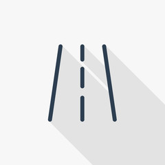 highway road, transport traffic thin line flat icon. Linear vector illustration. Pictogram isolated on white background. Colorful long shadow design.