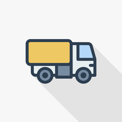 truck cab, van body, container thin line flat color icon. Linear vector illustration. Pictogram isolated on white background. Colorful long shadow design.
