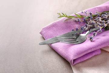 Cutlery with decor for Easter table setting, closeup