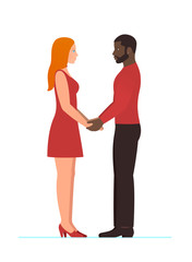 Happy Valentines day, February 14th. Bearded afro american man with beautiful redhead woman, happy multiracial couple in love, holding hands and looking into each others eyes, in full growth standing