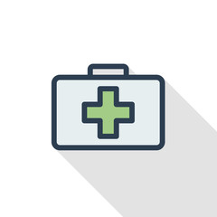 medicine chest thin line flat color icon. Linear vector illustration. Pictogram isolated on white background. Colorful long shadow design.