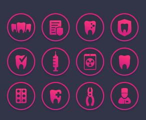Teeth, oral medicine, dental care icons