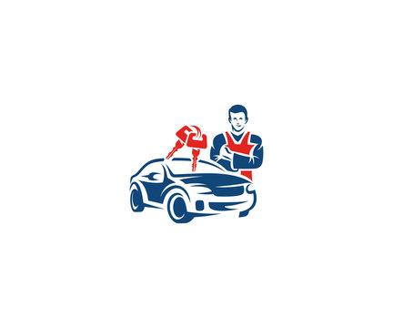Car key service logo template. Auto key locksmith vector design. Workshop illustration