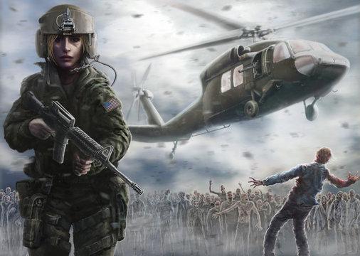 Woman pilot with an assault rifle. Zombie apocalypse zone.