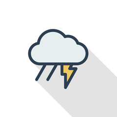 Lightning, thunder storm, rain and cloud thin line flat color icon. Linear vector illustration. Pictogram isolated on white background. Colorful long shadow design.