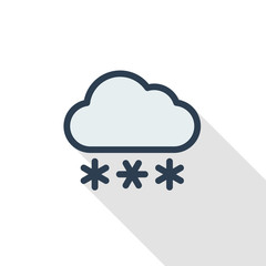 snow, snowfall cloud, winter weather thin line flat color icon. Linear vector illustration. Pictogram isolated on white background. Colorful long shadow design.