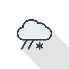 cloud weather, snow and rain thin line flat color icon. Linear vector illustration. Pictogram isolated on white background. Colorful long shadow design.