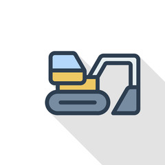 excavator thin line flat color icon. Linear vector illustration. Pictogram isolated on white background. Colorful long shadow design.