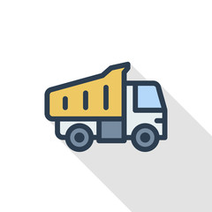 dump truck thin line flat color icon. Linear vector illustration. Pictogram isolated on white background. Colorful long shadow design.