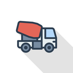 Concrete mixing truck thin line flat color icon. Linear vector illustration. Pictogram isolated on white background. Colorful long shadow design.