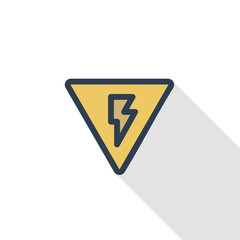 Sign of danger, high voltage thin line flat color icon. Linear vector illustration. Pictogram isolated on white background. Colorful long shadow design.