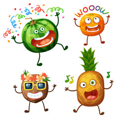 Funny fruit characters isolated on white background. Cheerful food emoji. Cartoon vector illustration: crazy watermelon, wow apricot, cool coconut, dancing pineapple