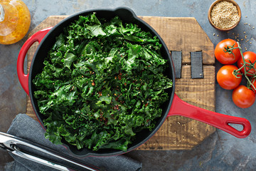 Sauteed kale with chili flakes