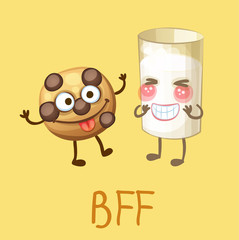 Funny food characters cookie and glass of milk