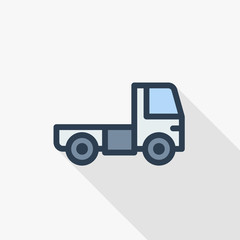 truck cab, van body thin line flat color icon. Linear vector illustration. Pictogram isolated on white background. Colorful long shadow design.
