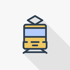 train, tram, rails transport thin line flat icon. Linear vector illustration. Pictogram isolated on white background. Colorful long shadow design.