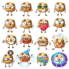 Cartoon choc chip cookie characters illustration 2