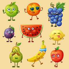 Funny fruit characters