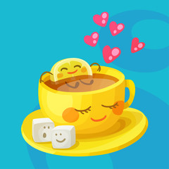 Funny food characters a cup of tea, lemon slice and sugar cubes in love. Cheerful cartoon vector illustration