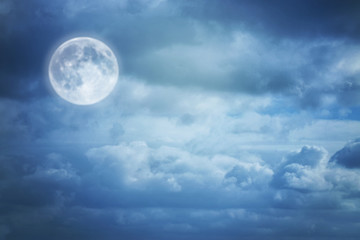 A soft cloud background with a blue pastel colors, moon and dreamy concept.