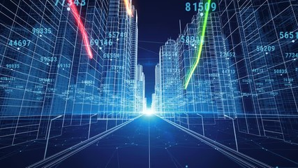 Search photos by george 3d color strokes flying through the digital night city with numbers and grids 3d blueprint malvernweather Choice Image