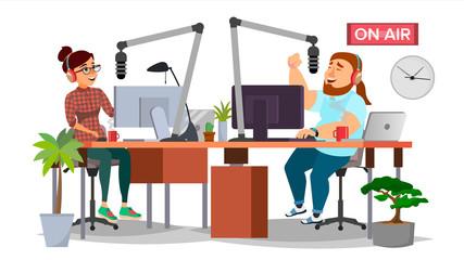 Radio DJ Man And Woman Vector. Broadcasting. Modern Radio Station Studio. Speak Into The Microphone. On Air. Broadcasting. Isolated Flat Cartoon Illustration