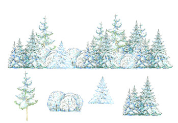 Winter  forest  and trees elements for design isolated on white.